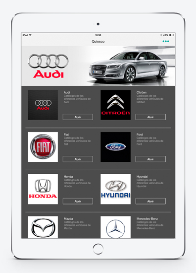Cars catalog. The sales catalog of the company always updated on the mobile of your customers.